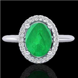 2 CTW Emerald & Micro Pave VS/SI Diamond Ring Solitaire Halo 18K White Gold - REF-56Y9K - 21009