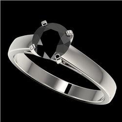1.25 CTW Fancy Black VS Diamond Solitaire Engagement Ring 10K White Gold - REF-32K5W - 33003
