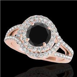 1.9 CTW Certified VS Black Diamond Solitaire Halo Ring 10K Rose Gold - REF-98W8F - 34391