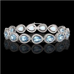 19.85 CTW Aquamarine & Diamond Halo Bracelet 10K White Gold - REF-423X3T - 41258