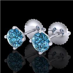 1.01 CTW Fancy Intense Blue Diamond Art Deco Stud Earrings 18K White Gold - REF-100Y2K - 38230