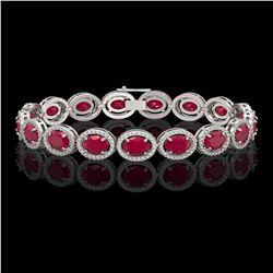 22.89 CTW Ruby & Diamond Halo Bracelet 10K White Gold - REF-291N5Y - 40604