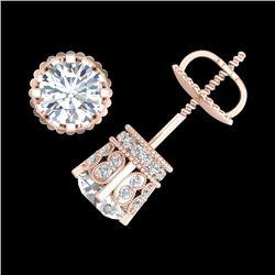 3 CTW VS/SI Diamond Solitaire Art Deco Stud Earrings 18K Rose Gold - REF-584Y3K - 36837