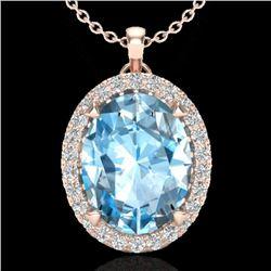2.75 CTW Sky Blue Topaz & Micro VS/SI Diamond Halo Necklace 14K Rose Gold - REF-39H3A - 20581