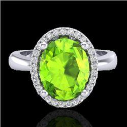2.50 CTW Peridot & Micro Pave VS/SI Diamond Ring Halo 18K White Gold - REF-54T8M - 21110