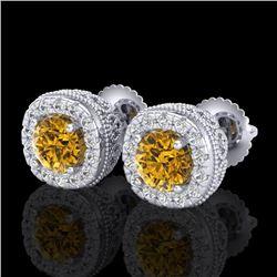 1.69 CTW Intense Fancy Yellow Diamond Art Deco Stud Earrings 18K White Gold - REF-254N5Y - 37994