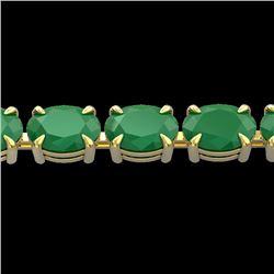29 CTW Emerald Eternity Designer Inspired Tennis Bracelet 14K Yellow Gold - REF-180X2T - 23388