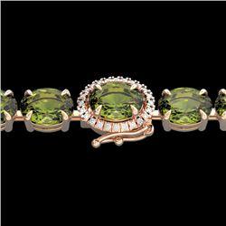 27 CTW Green Tourmaline & VS/SI Diamond Tennis Micro Halo Bracelet 14K Rose Gold - REF-243T5M - 2342
