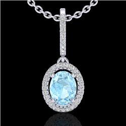 1.75 CTW Aquamarine & Micro VS/SI Diamond Necklace Halo 18K White Gold - REF-64M9H - 20650