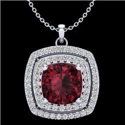 2.27 CTW Garnet & Micro Pave VS/SI Diamond Halo Necklace 18K White Gold - REF-63X3T - 20457