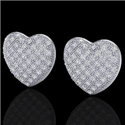 1.50 Designer CTW Micro Pave VS/SI Diamond Heart Earrings 14K White Gold - REF-110Y4K - 20177
