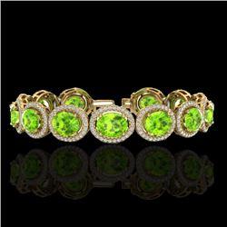 27 CTW Peridot & Micro Pave VS/SI Diamond Bracelet 10K Yellow Gold - REF-409F3N - 22694