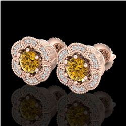 1.51 CTW Intense Fancy Yellow Diamond Art Deco Stud Earrings 18K Rose Gold - REF-178W2F - 37967