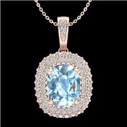 3 CTW Blue Topaz & Micro Pave VS/SI Diamond Halo Necklace 10K Rose Gold - REF-65T5M - 20404