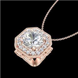 1.54 CTW VS/SI Diamond Solitaire Art Deco Necklace 18K Rose Gold - REF-409T3M - 37326