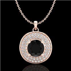 1.25 CTW Fancy Black Diamond Solitaire Art Deco Stud Necklace 18K Rose Gold - REF-83K6W - 38137