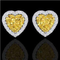 2 CTW Citrine & Micro Pave VS/SI Diamond Earrings Heart Halo 14K White Gold - REF-42A4X - 21202