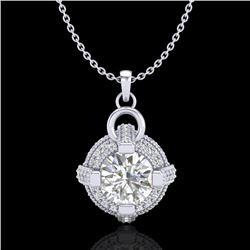 1.57 CTW VS/SI Diamond Micro Pave Stud Necklace 18K White Gold - REF-229A3X - 36953