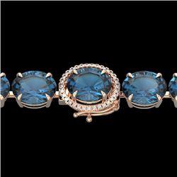 79 CTW London Blue Topaz & Micro VS/SI Diamond Halo Bracelet 14K Rose Gold - REF-272N2Y - 22265