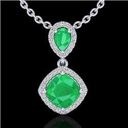 3.50 CTW Emerald & Micro VS/SI Diamond Necklace Designer Halo 10K White Gold - REF-63A6X - 20544
