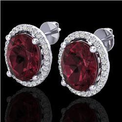 5 CTW Garnet & Micro Pave VS/SI Diamond Earrings Halo 18K White Gold - REF-72F8N - 21056