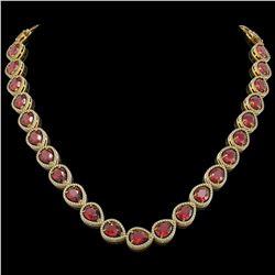 41.6 CTW Tourmaline & Diamond Halo Necklace 10K Yellow Gold - REF-832W4F - 41206