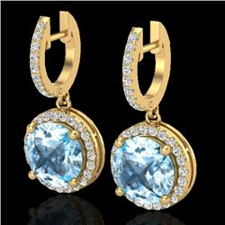 5.50 CTW Sky Blue Topaz & Micro Pave VS/SI Diamond Designer Halo 18K Yellow Gold - REF-87K8W - 23188