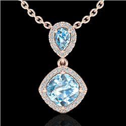 3.50 CTW Sky Blue Topaz & Micro VS/SI Diamond Necklace Designer Halo 10K Rose Gold - REF-45W3F - 205