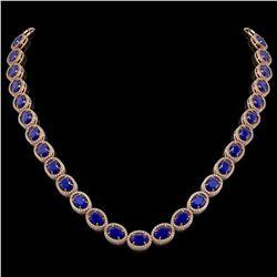 52.15 CTW Sapphire & Diamond Halo Necklace 10K Rose Gold - REF-655K3W - 40560