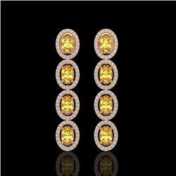 5.4 CTW Fancy Citrine & Diamond Halo Earrings 10K Rose Gold - REF-102X2T - 40545