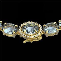 45.25 CTW Sky Blue Topaz & VS/SI Diamond Tennis Micro Halo Necklace 14K Yellow Gold - REF-200F2N - 4
