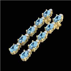 8.36 CTW Aquamarine & VS/SI Certified Diamond Tennis Earrings 10K Yellow Gold - REF-91F3N - 29390