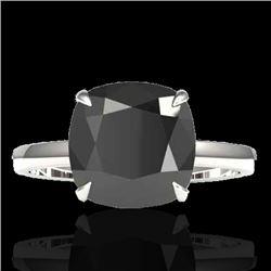 6 CTW Black VS/SI Diamond Designer Inspired Engagement Ring 18K White Gold - REF-155A6X - 22175
