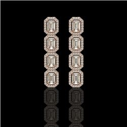 5.33 CTW Emerald Cut Diamond Designer Earrings 18K Rose Gold - REF-1125X6T - 42666