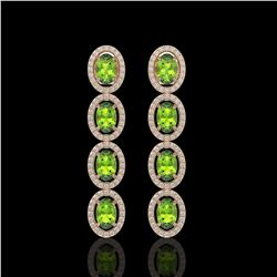 5.88 CTW Peridot & Diamond Halo Earrings 10K Rose Gold - REF-112H5A - 40530