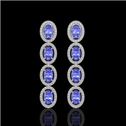 6.09 CTW Tanzanite & Diamond Halo Earrings 10K White Gold - REF-122T2M - 40511