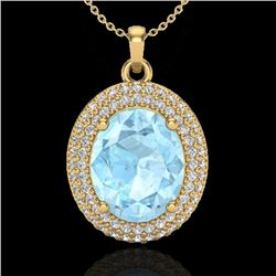 4 CTW Aquamarine & Micro Pave VS/SI Diamond Necklace 18K Yellow Gold - REF-122T8M - 20555