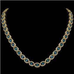 33.25 CTW London Topaz & Diamond Halo Necklace 10K Yellow Gold - REF-511H3A - 40438