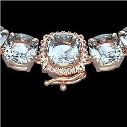 87 CTW Aquamarine & VS/SI Diamond Halo Micro Eternity Necklace 14K Rose Gold - REF-726M9H - 23337