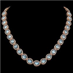 41.6 CTW Aquamarine & Diamond Halo Necklace 10K Rose Gold - REF-896W4F - 41211