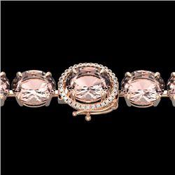 67 CTW Morganite & Micro Pave VS/SI Diamond Halo Bracelet 14K Rose Gold - REF-763Y6K - 22268