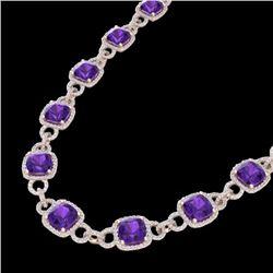 66 CTW Amethyst & Micro VS/SI Diamond Eternity Necklace 14K Rose Gold - REF-794T5M - 23036