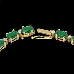 35 CTW Emerald & VS/SI Diamond Eternity Tennis Necklace 10K Yellow Gold - REF-200Y8K - 21593