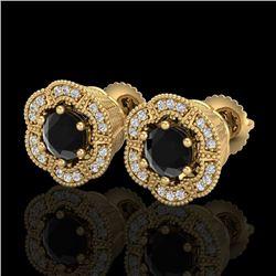 1.51 CTW Fancy Black Diamond Solitaire Art Deco Stud Earrings 18K Yellow Gold - REF-89T3M - 37963