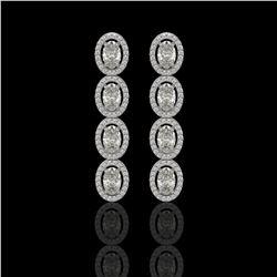 5.33 CTW Oval Diamond Designer Earrings 18K White Gold - REF-982K4W - 42620