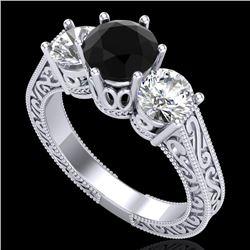 2.01 CTW Fancy Black Diamond Solitaire Art Deco 3 Stone Ring 18K White Gold - REF-241F8N - 37576