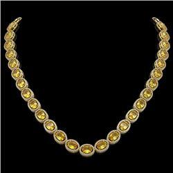 46.39 CTW Fancy Citrine & Diamond Halo Necklace 10K Yellow Gold - REF-553N6Y - 40597