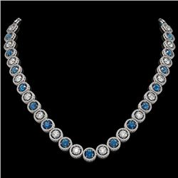 31.18 CTW Blue & White Diamond Designer Necklace 18K White Gold - REF-3872K5W - 42587