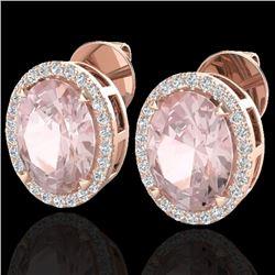 5.50 CTW Morganite & Micro VS/SI Diamond Halo Earrings 14K Rose Gold - REF-125W5F - 20253