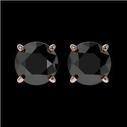1.50 CTW Fancy Black VS Diamond Solitaire Stud Earrings 10K Rose Gold - REF-35A3X - 33073